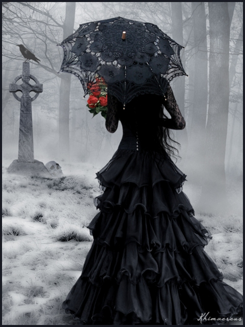 in femme gothique - gothic clipart gothic woman in cimetery